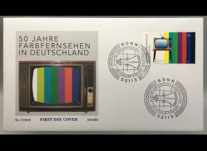 Bund BRD Ersttagsbrief FDC Nr. 3329 10. August 2017 50 Jahre Farbfernsehen