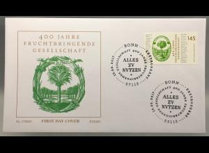 Bund BRD Ersttagsbrief FDC Nr. 3328 10. August 2017 Fruchtbringende Gesellschaft