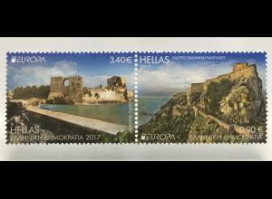 Griechenland Greece 2017 Michel Nr. 2953-54 A Europa Burgen und Schlösser