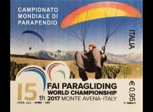 Italien Italy 2017 Michel Nr. 3984 Weltmeisterschaft im Gleitschirmfliegen