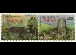 Bosnien Herzegowina Kroatische Post Mostar 2017 Nr. 451-52 Europa Burg Schlösser