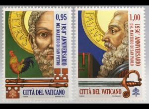 Martyrien der Heiligen - zwei Briefmaren aus Vatikan Jahrgang 2017 Nr. 1903-04