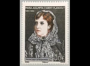 Andorra französisch 2017 Nr. 819 Todestag von Maria Assumpta d'Areny-Plandolit