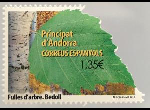 Andorra spanisch 2017 Nr. 454 Einheimische Flora: Birke an Konturen gestanzt