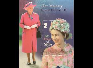 Britische Antarktis BAT 2016 Block 26 90. Geburtstag Königin Elizabeth II Royals