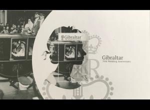 Gibraltar 2017 Block 127 Hochzeitstag von Königin Elisabeth II und Prinz Phillip