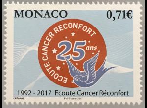 Monako Monaco 2017 Michel Nr 3361 25 Jahre Hilfsorganisation für Krebskranke