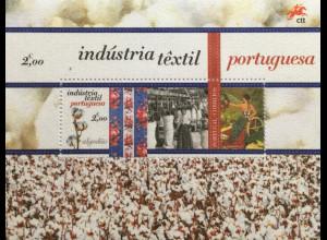 Portugal 2017 Block 415 Portugiesische Textilindustrie Filzbeschichteter Block