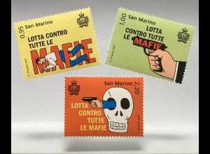 San Marino 2017 Michel Nr. 2721-23 Kampf gegen die Mafia Massaker Capac