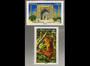Frankreich France 2017 Michel Nr. 79-80 Dienstmarken Naturschutz UNESCO-Welterbe