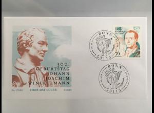 Bund BRD Ersttagsbrief FDC Nr. 3338 300. Geburtstag Johann Joachim Winckelmann