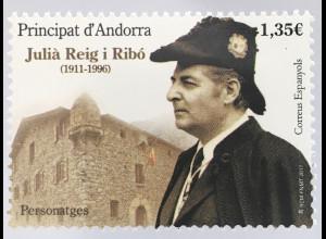 Andorra spanisch 2017 Michel Nr. 457 Julia Reig Ribo Soldat Berühmtheit
