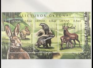 Litauen Lithuania 2017 Block 56 Tiere in Litauen Hase Dachs Rotwild Fauna Wald