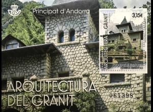 Andorra spanisch 2017 Block 14 Granit Architektur Xalet Arajol Bauwerke ausStein