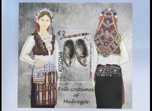 Kosovo 2017 Block 44 Trachen Frauentracht aus Medveđa Folklore Brauchtum