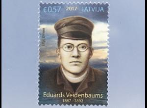 Lettland Latvia 2017 Nr. 1024 150. Geburtstag von Eduards Veidenbaums Lyrik