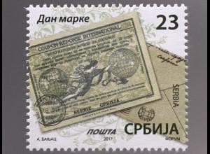 Serbien Serbia 2017 Michel Nr. 757 Tag der Marke Historische Briefmarke