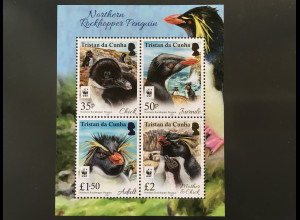 Tristan da Cunha 2017 Block 75 WWF Rockhopper Pinguine World Wild Found