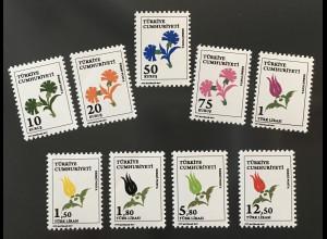 Türkei Turkey 2017 Michel Nr. 360-68 Dienstmarken Blumen Flora Pflanzen