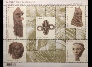 Belgien 2017 Block 219 Masken Masques Koninklijk Museum Afrikanische Masken