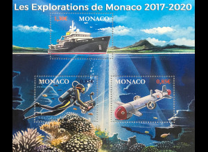 Monako Monaco 2017 Block 124 Aufbruch dreijährige staatliche Forschungsreise