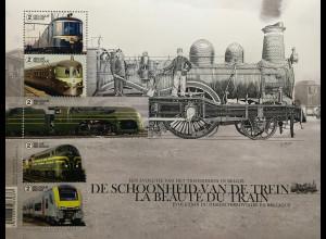 Belgien 2017 Block 217 Züge Design Verkehr Eisenbahn Lokomotive Transport