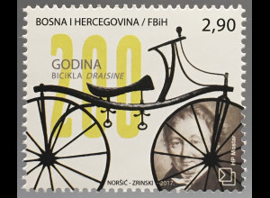 Bosnien Herzegowina Kroatische Post Mostar 2017 Nr. 457 200 J. Draisine Fahrad