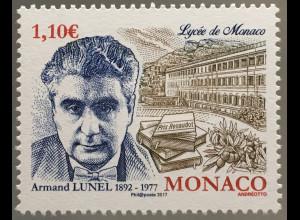 Monako Monaco 2017 Michel Nr 3368 40. Todestag von Armand Lunel Schriftsteller