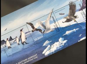 Grönland 2017 Block 84 Vögel Pinguine Fauna Tiere Gemeinschaftsausgabe mit TAAF