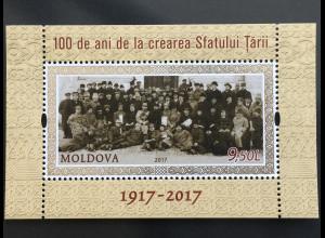 Moldawien Moldova 2017 Block 78 100 Jahre Erstes Parlament in Basarabia Moldova