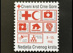 Montenegro 2017 Neuheit Zwangszuschlagsmarke Rotes Kreuz ohne Hologrammstreifen