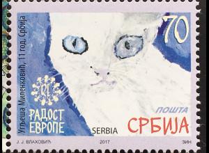 Serbien Serbia 2017 Nr. 753 Freude Europas Kinderzeichnung Katze Kinderkunst