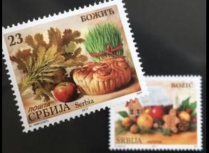 Serbien Serbia 2017 Nr. 754-55 Weihnachtsmarke Christmas Lebkuchenhaus Natale