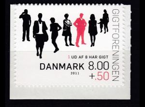 Dänemark 2011 Michel Nr. 1633 BC **, 15 Jahre Dänische Gichtvereinigung (II)