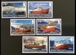 Britische Antarktis BAT 2017 Nr. 766-71 Schiffe Forschungsschiffe Verkehr