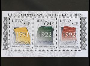 Litauen Lithuania 2017 Block 57 25 Jahre Verfassung von 1992 Politik