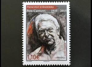 Andorra französisch 2017 Michel Nr 824 2. Todestag von Pere Canturri Historiker