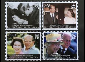 Britisch Antarktis BAT 2017 Nr 772-75 Hochzeitstag Queen Elizabeth Prinz Phillip