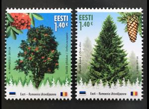 Estland EESTI 2017 Nr. 905-06 Freundschaft mit Rumänien Bäume Natur Wald Fichte