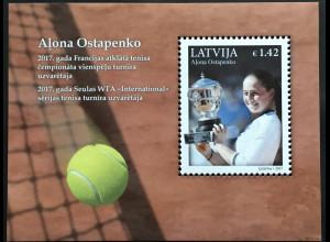 Lettland Latvia 2017 Block 42 Sieg von Aļona Ostapenko bei den French Open Sport