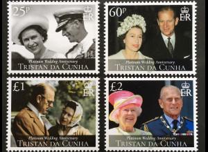 Tristan da Cunha 2017 Nr. 1281-84 70. Hochzeitstag Queen Elisabeth Prinz Phillip