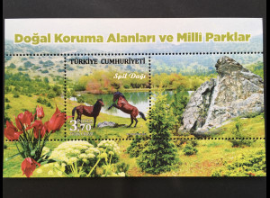 Türkei Turkey 2017 Block 166 Nationalparks Spil Dagi Natur Landschaft Wildpferde