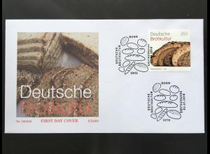 Bund BRD Ersttagsbrief FDC Nr. 3355 2. Januar 2018 Deutsche Brotkultur