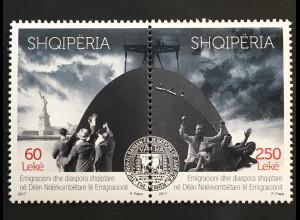 Albanien 2017 Michel Nr. 3558-59 Albanische Einwanderer in den USA Emigranten
