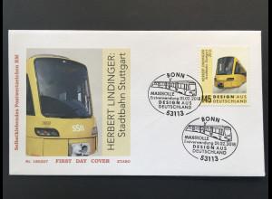 Bund BRD Ersttagsbrief FDC Nr. 3363 1. Februar 2018 Stadtbahn Stuttgart Rolle