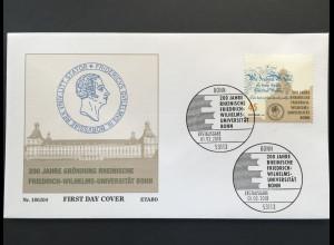 Bund BRD Ersttagsbrief FDC Nr. 3360 200 Jahr Friedrich-Wilhelm-Universität Bonn