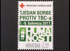 Kroatien Croatia 2017 Zwangszuschlagsmarke 148 Rotes KreuzTuberkulosebekämpfung.