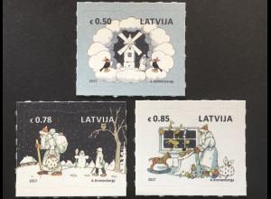 Lettland Latvia 2017 Nr. 1032-34 Weihnachten Christmas Natale Weihnachtsmann