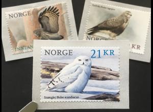 Norwegen 2018 Nr. 1959-61 Vögel Fauna Vogelwelt Bussard Schneeeule Bartkauz