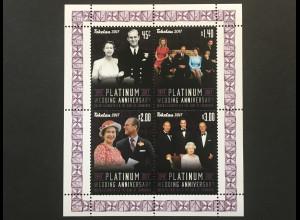 Tokelau Inseln 2017 Neuheit Platin Hochzeit des Königspaares Elisabeth Phillip